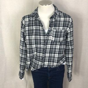 Plaid black and White checked Flannel Shirt Top